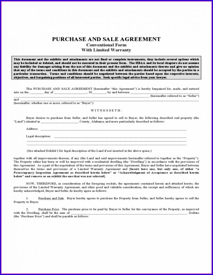 Alabama Real Estate Sales Contract Template