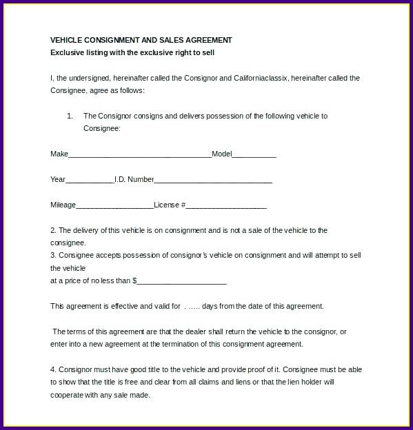 Auto Consignment Agreement Template