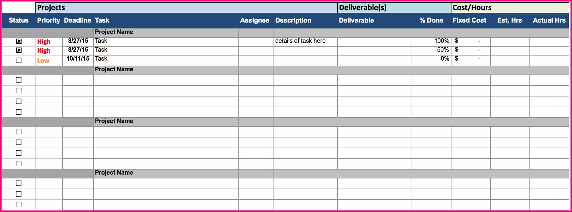 Best Excel Project Management Template