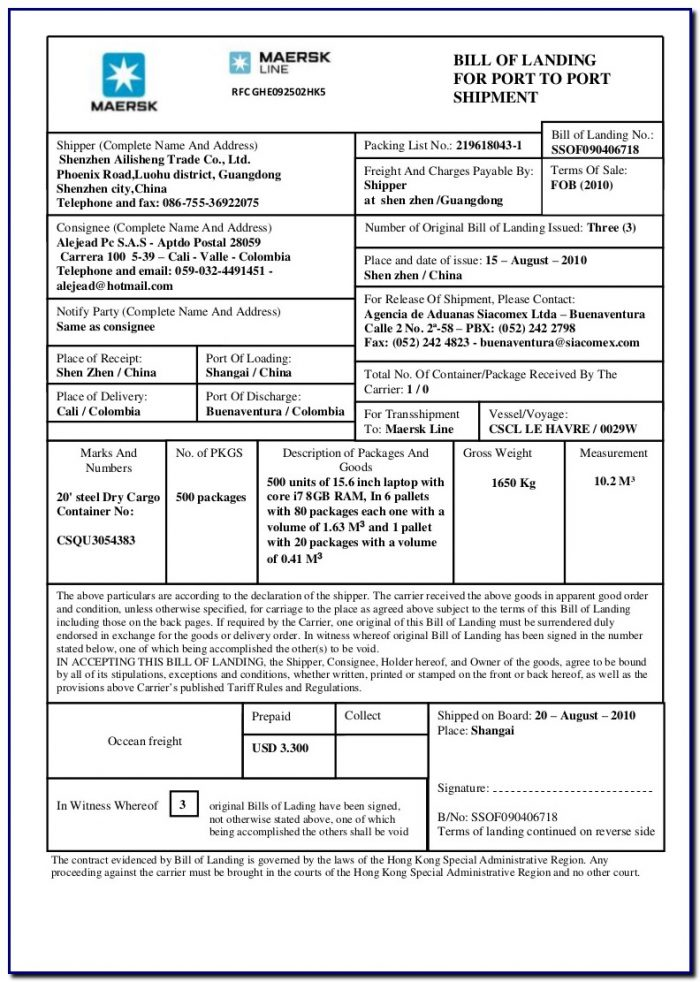 Bill Of Lading Form Explanation