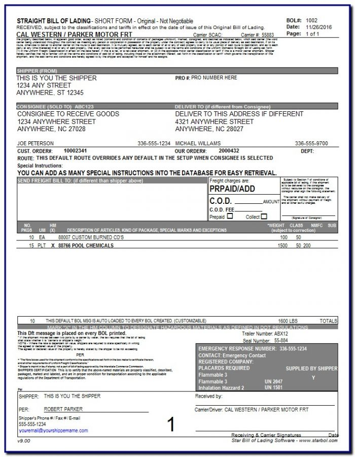 Bill Of Lading Form How To Fill Out