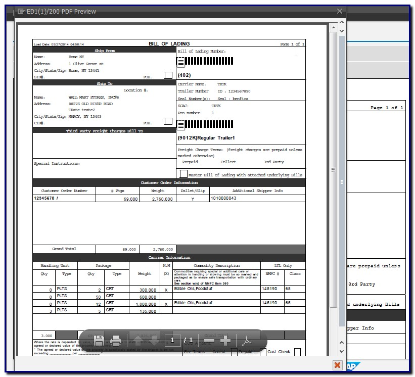 Bill Of Lading Form Sap