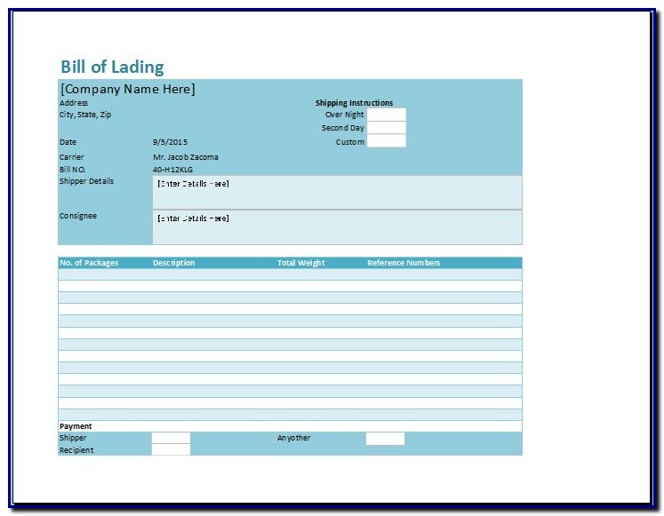 Bill Of Lading Form Xls