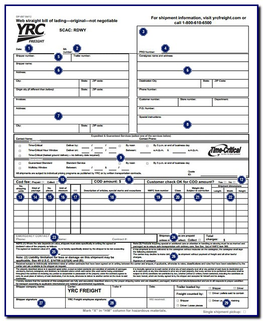 Bill Of Lading Form Yrc