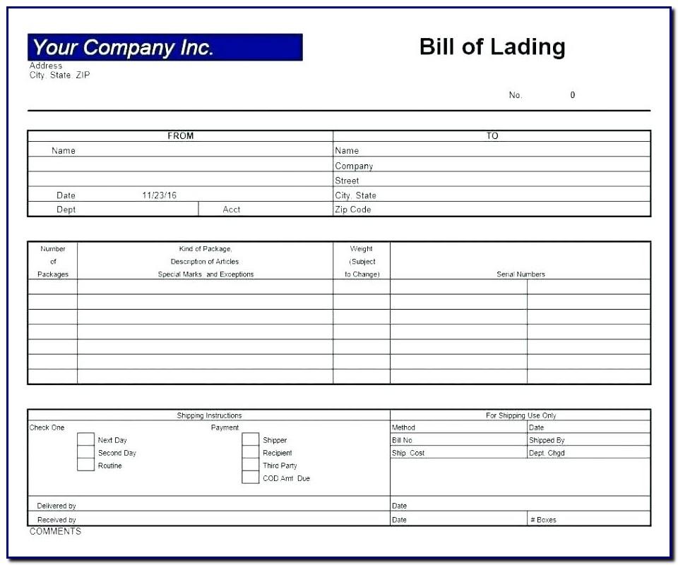 Bill Of Lading Format Excel