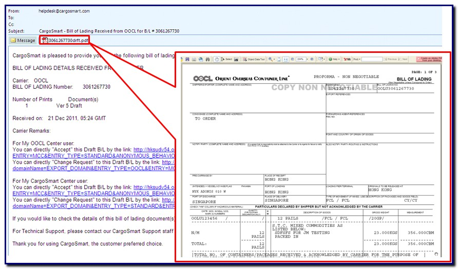 Bill Of Lading Format India