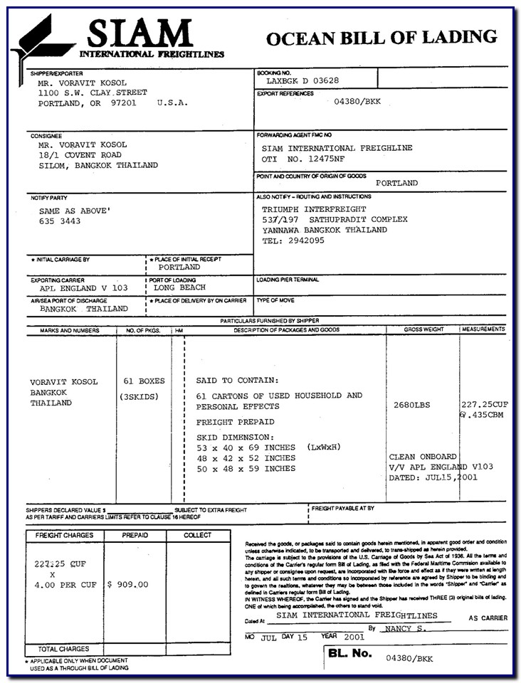 Bill Of Lading Negotiable Form