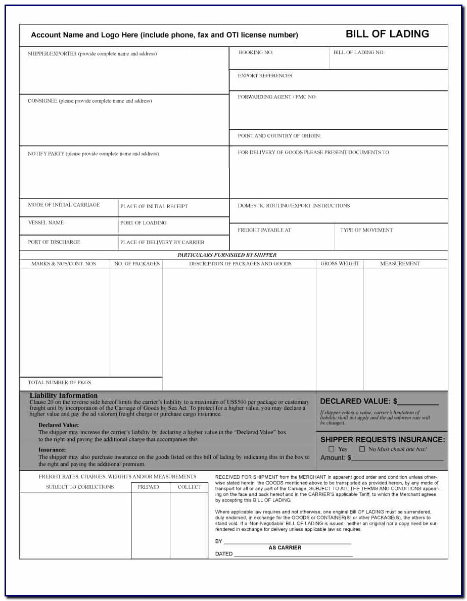 Bill Of Lading Office Template