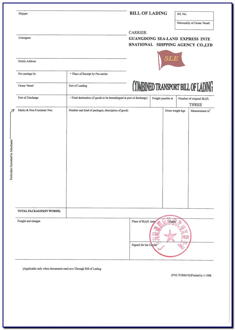 Bill Of Lading Pgc Form 02