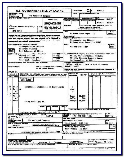 Bill Of Lading Standard Form