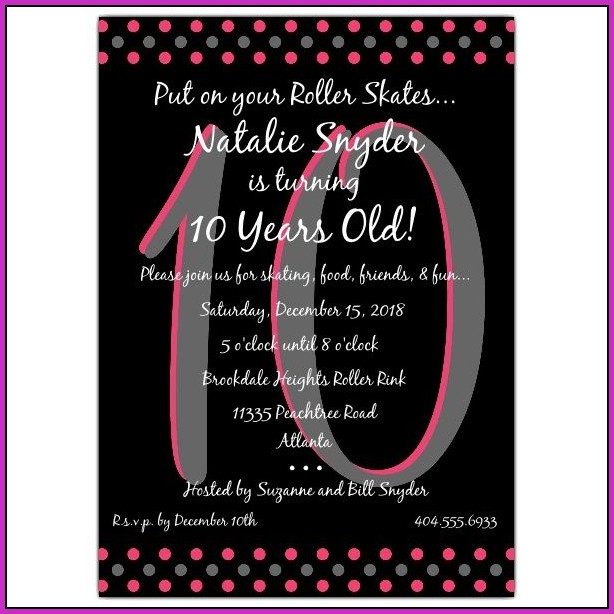 Birthday Invitation Templates For 10 Year Old
