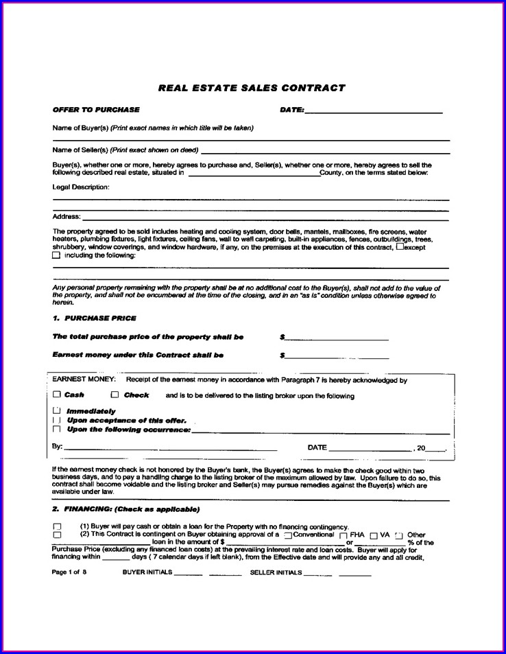 Commercial Real Estate Purchase Contract Template