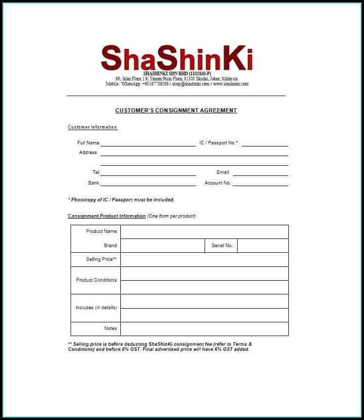 Consignment Contract Form