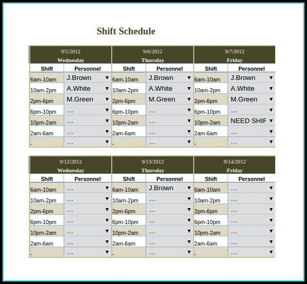 Continental Rotating Shift Schedule Template Excel