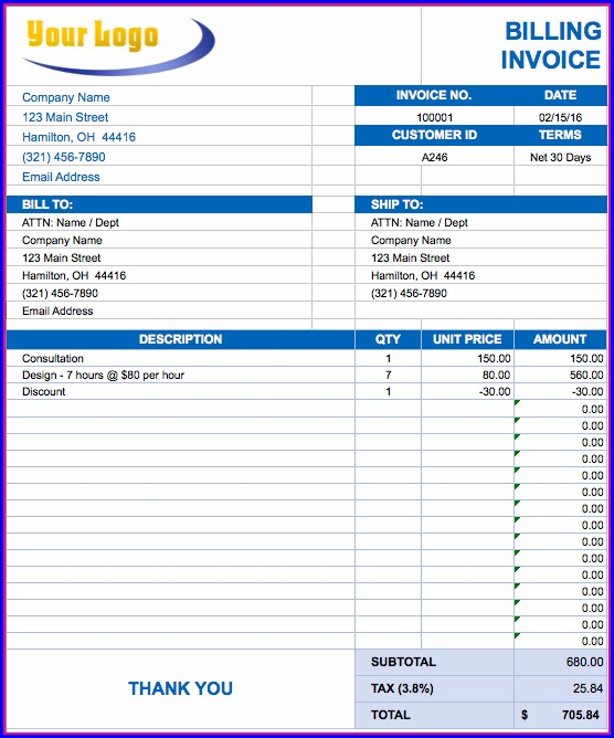 Contractor Invoice Template Excel