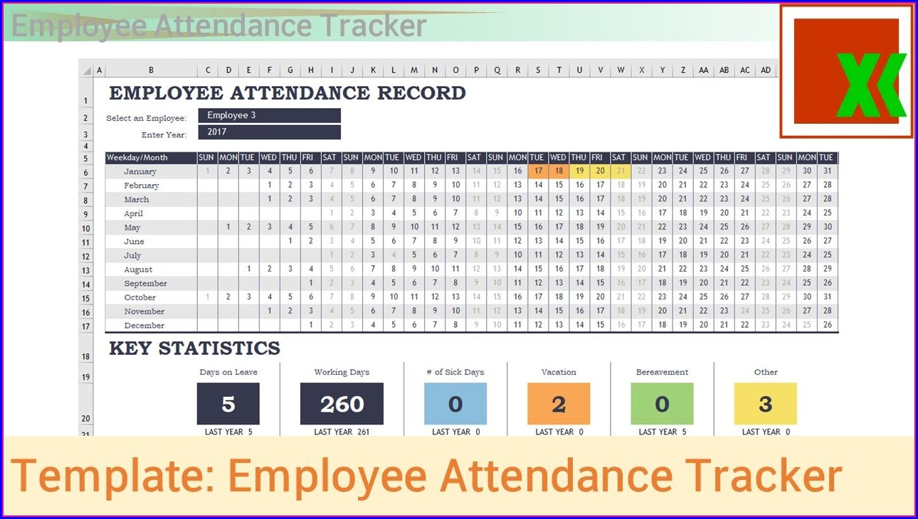 Employee Absence Schedule 2017 Excel Template