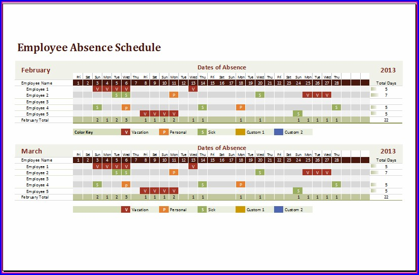Employee Absence Schedule Excel Template