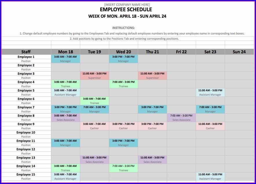 Employee Shift Schedule Excel Template Download