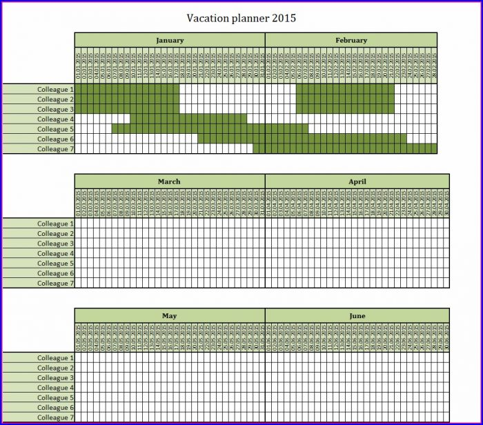 Employee Vacation Planner Template Excel 2017