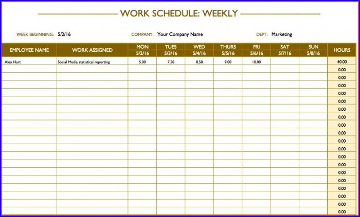 Employees Schedule Template Excel