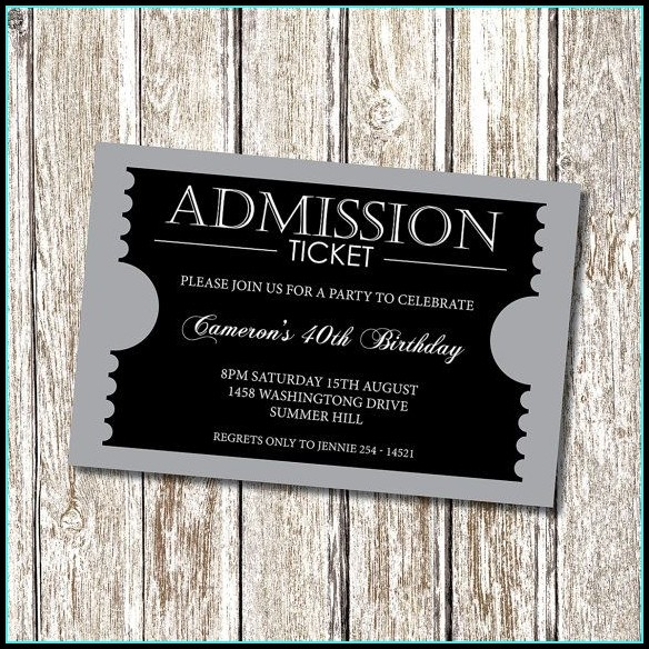 Formal Ticket Template