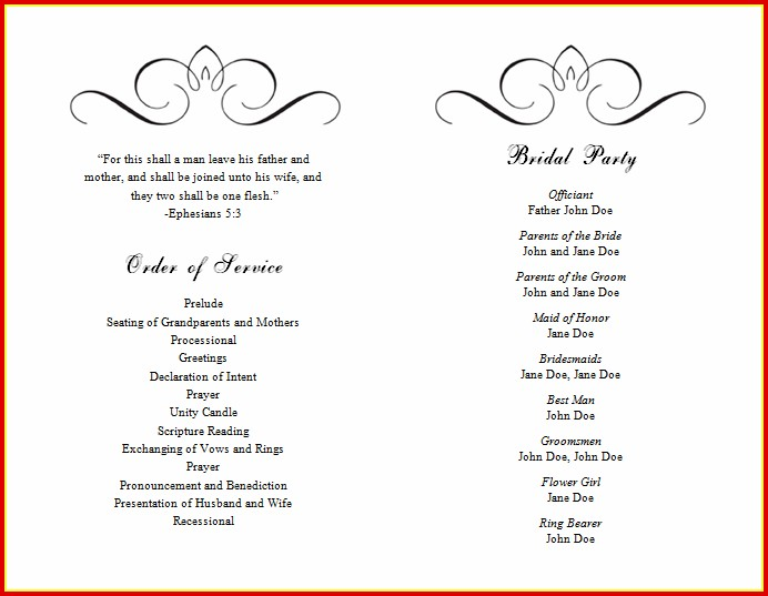 Microsoft Word Wedding Program Templates | Free Bi Fold Wedding Program Templates Microsoft Word Templates 1