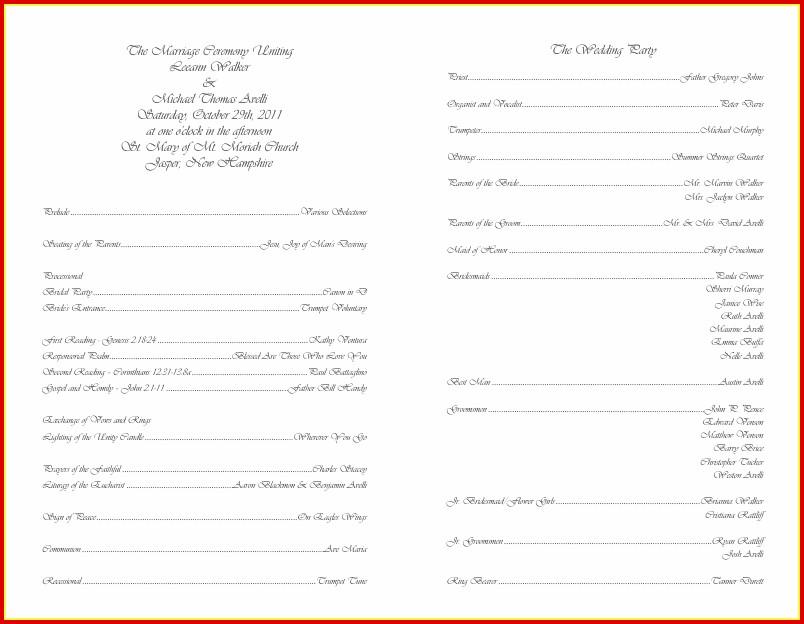 Free Blank Wedding Program Templates