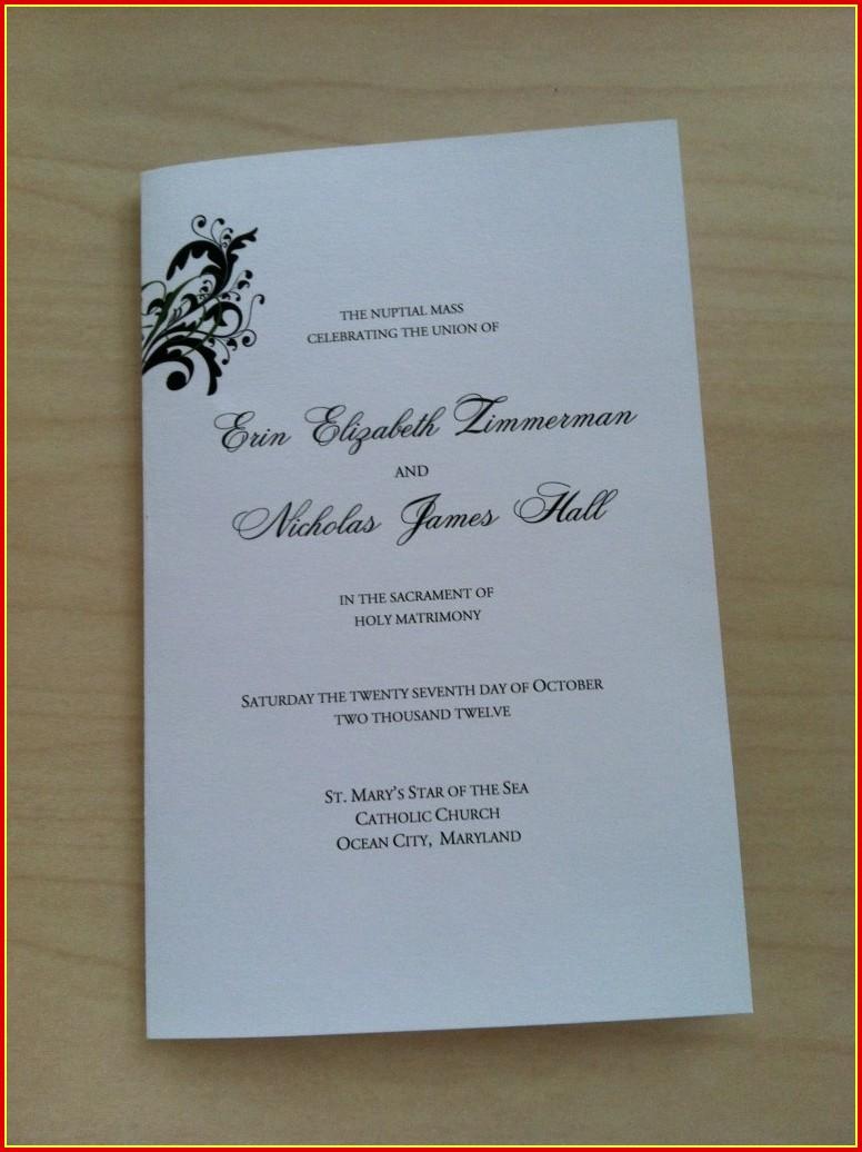 Free Catholic Wedding Program Template Without Mass