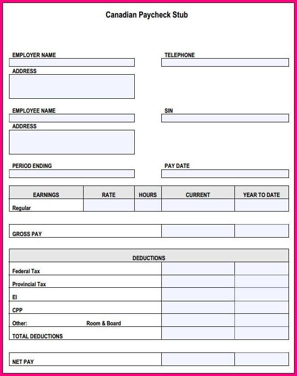 Free Check Stub Template Printables