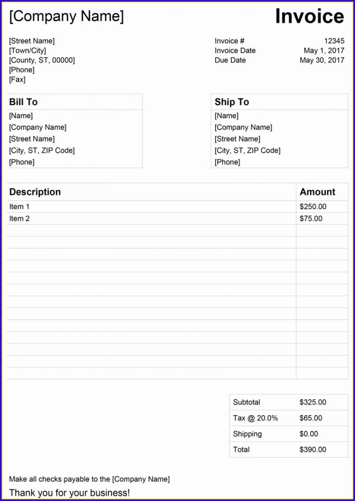 Free Invoice Template Word 2003