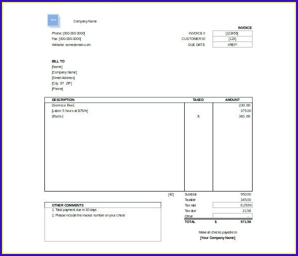Free Invoice Template Wordpad