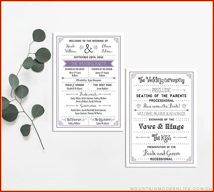 Free Modern Wedding Program Templates