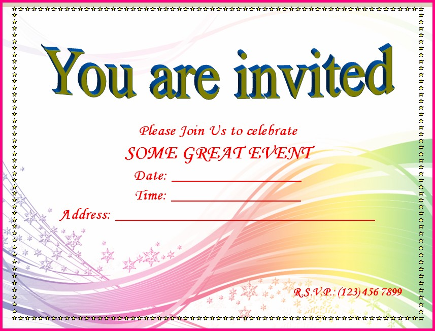Free Printable Blank Invitation Templates