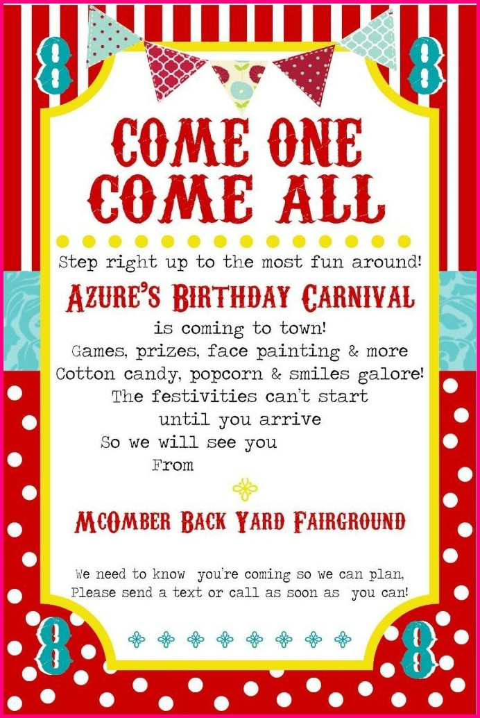Free Printable Carnival Invitation Templates