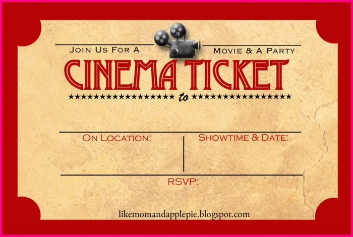photo regarding Printable Movie Ticket Invitation titled Video ticket invites template