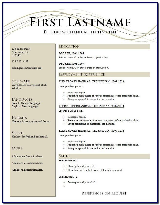Free Professional Resume Template Australia