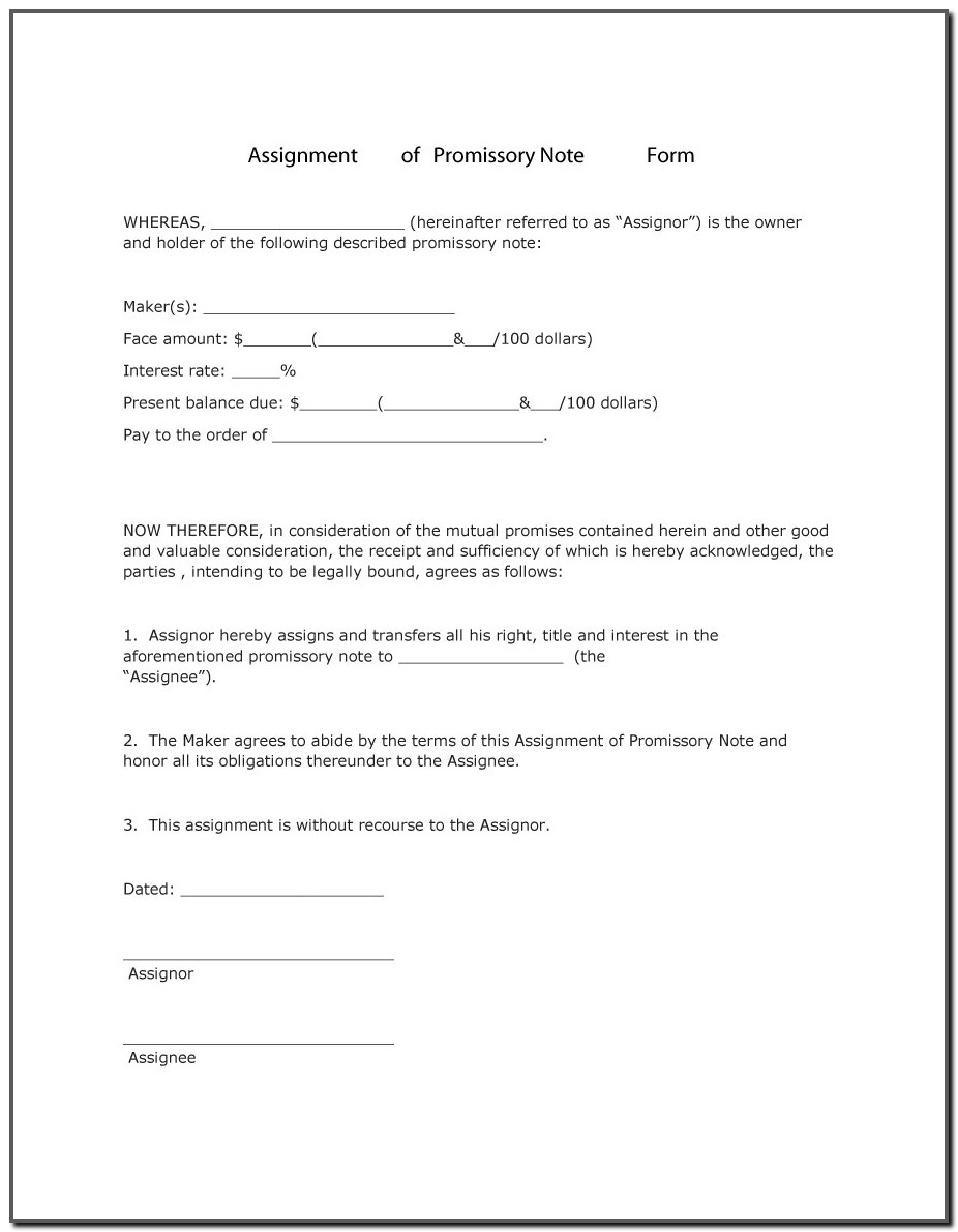 Free Promissory Note Template For A Vehicle
