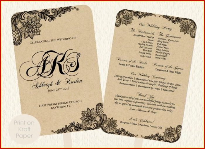 Free Vintage Wedding Program Templates
