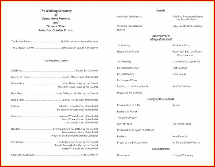 Free Wedding Church Program Templates