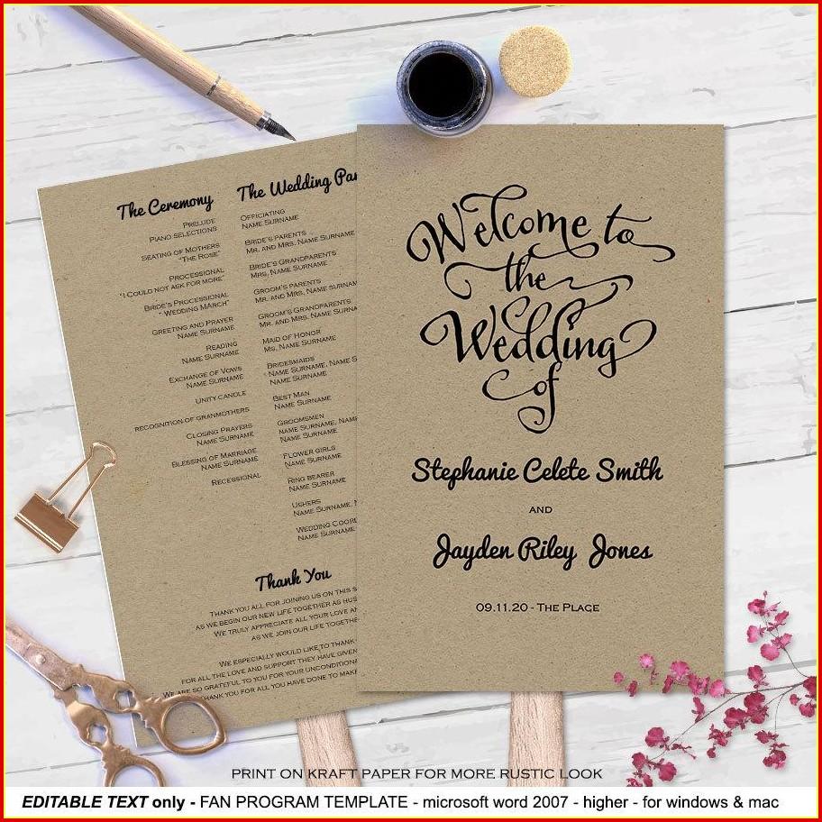 Free Wedding Program Fan Templates For Microsoft Word