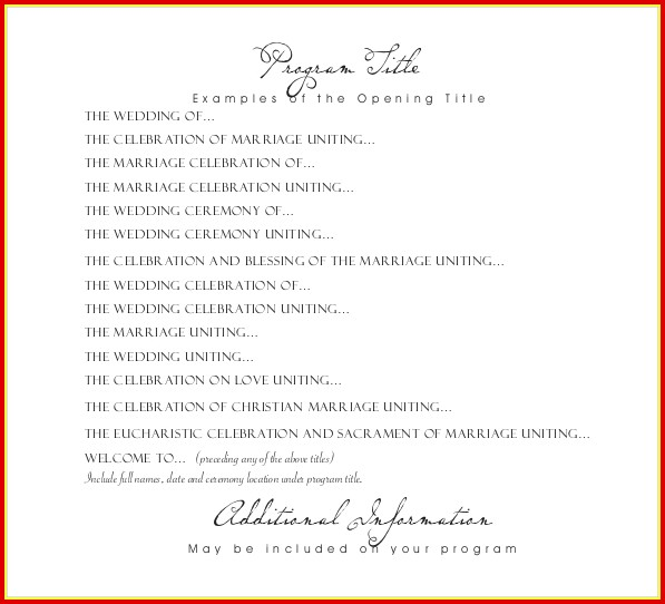 Free Wedding Program Templates Download