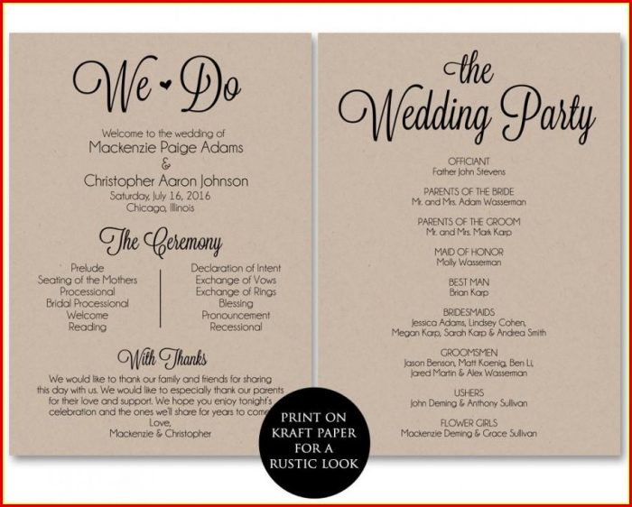 Free Wedding Program Templates Pdf