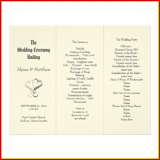 Free Wedding Program Templates Tri Fold