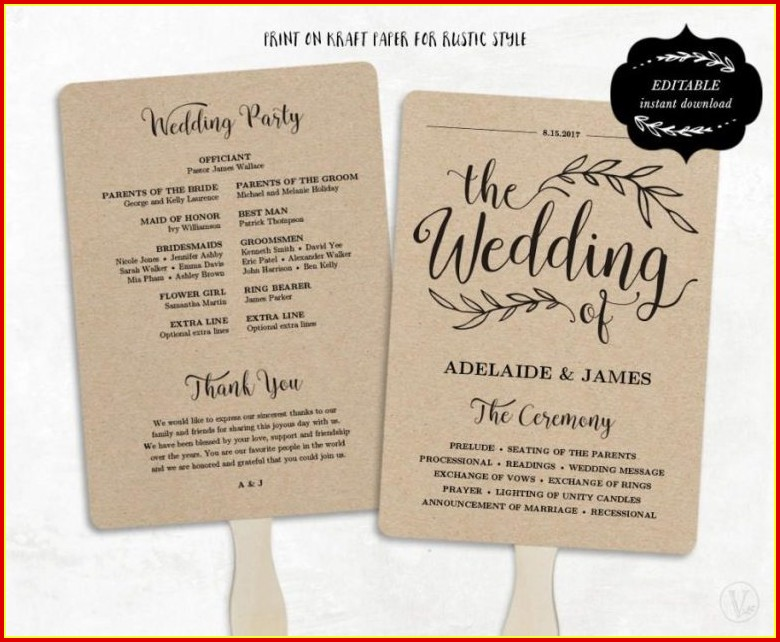 Free Wedding Program Templates Word