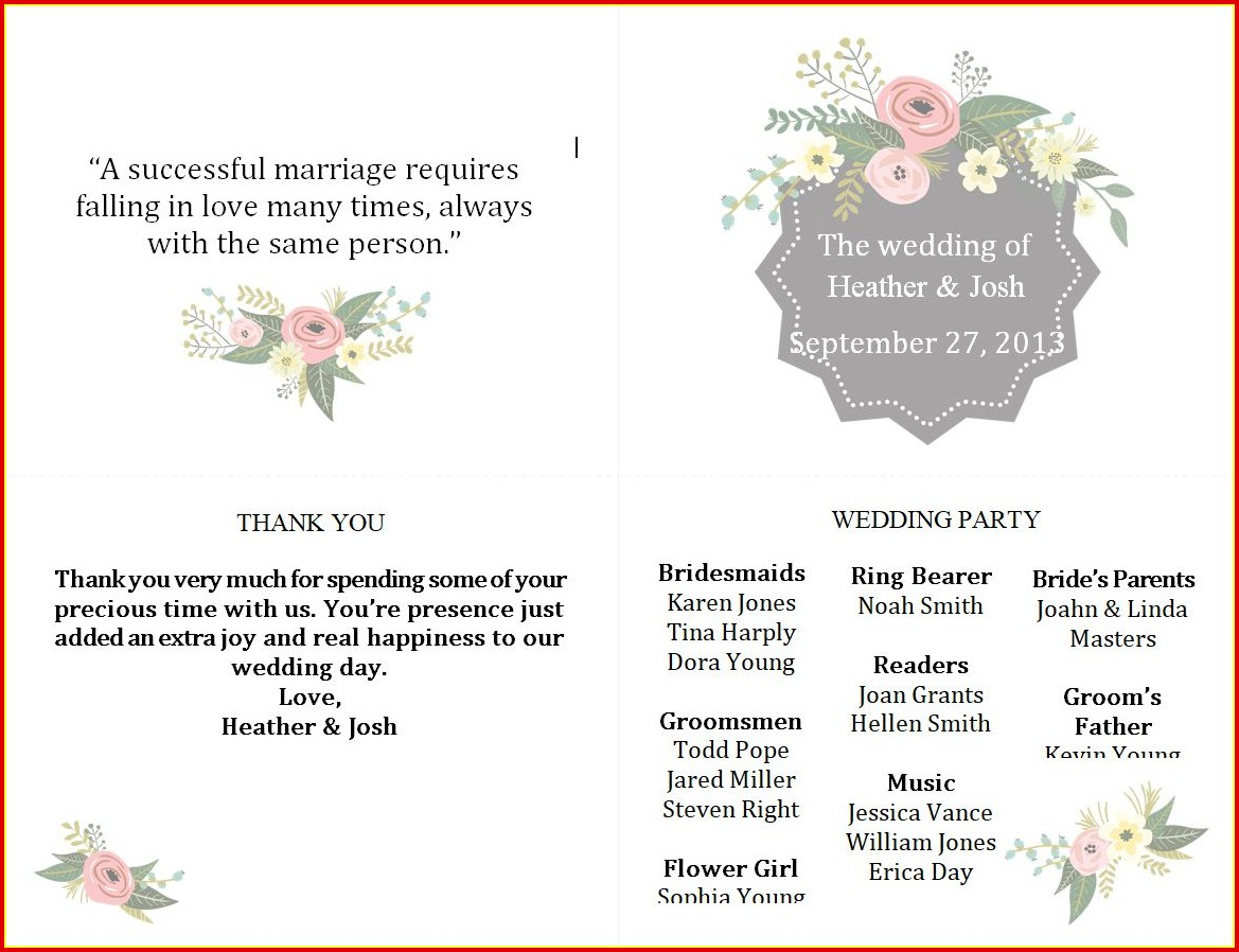 Free Winter Wedding Program Templates