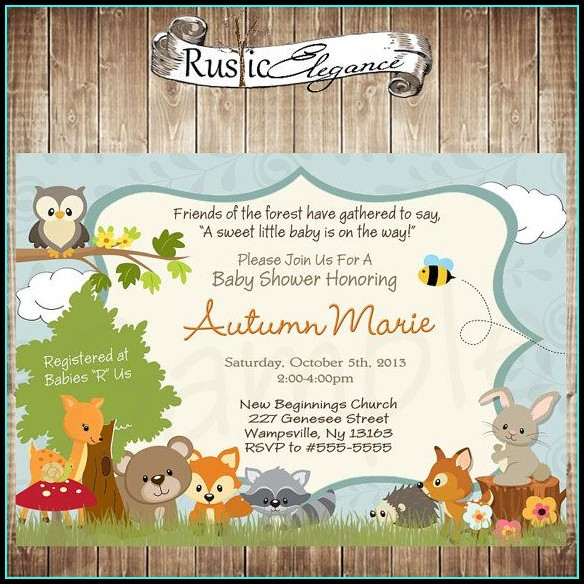 Free Woodland Baby Shower Invitation Templates
