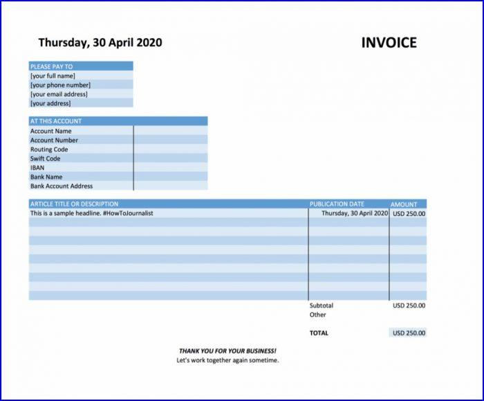 Freelance Journalist Invoice Template