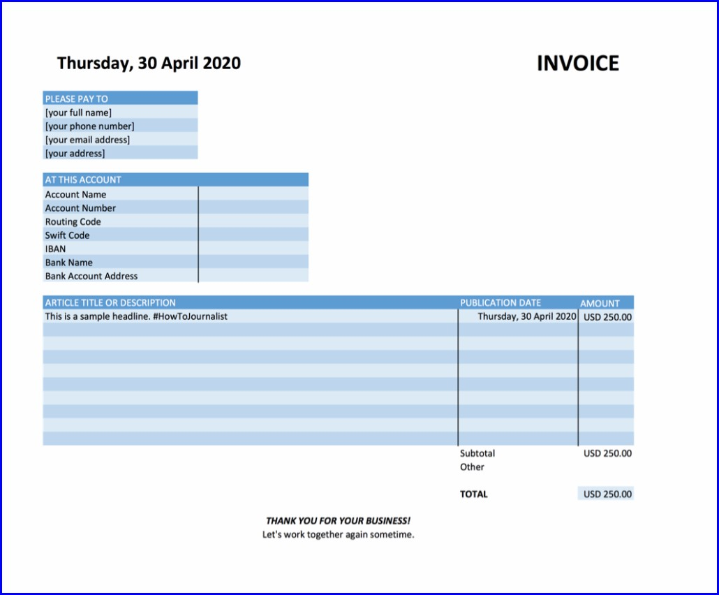 Freelance Journalist Invoice Template