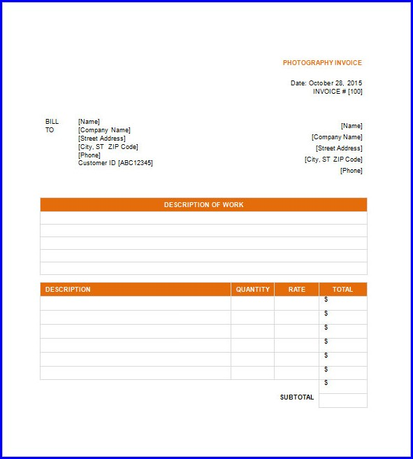 Freelance Photography Invoice Template
