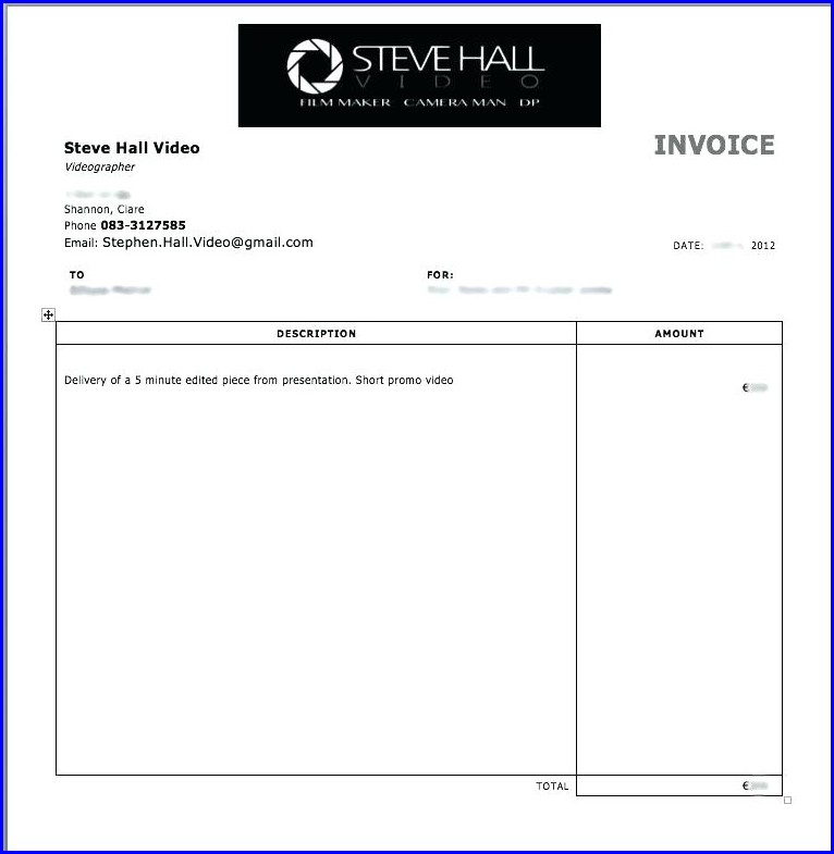 Freelance Video Invoice Template